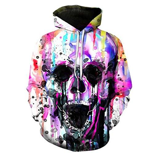 Moonuy,Unisex Long Sleeve Hoodies, 3D Printed Totenkopf Herbst Pullover Casual Baumwolle mit Kapuze Sweatshirt attraktive Tops, weibliche Bluse für Party (Lila, EU 40 / Asien XL) (3d-bekleidung)
