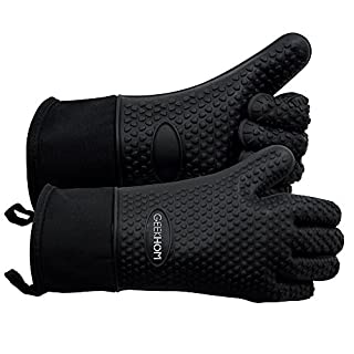 GEEKHOM BBQ Gloves, Heat Resistant Oven Mitts, Waterproof Silicone Gloves Kitchen Non-slip Potholder Barbecue Accessories for Cooking Baking Weber Charcoal Briquettes Pizza (Black)