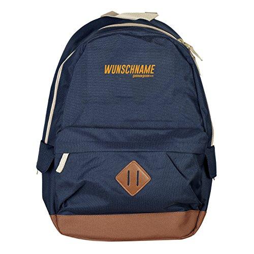 Personalisierter Rucksack robust mit Ihrem persönlichen Namen individuellem Wunschnamen Backpack 18 Liter Daypack Farbe: Navy-blau :