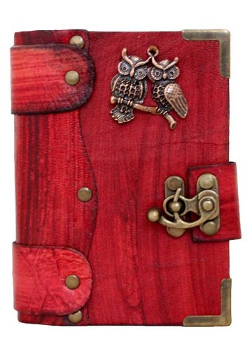 handmade-double-owl-pendant-on-a-red-leather-journal-with-lock-sketchbook-leatherbound-notebook-pock