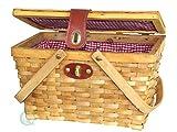 Vintiquewise cestino da picnic con fodera scozzese in tessuto bianco/rosso, materiale: legno, marrone chiaro