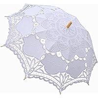 okdress Handmade Bianco Matrimonio Pizzo ombrellone Victorian Lady Costume Accessori Vintage da sposa partito decorazione puntelli