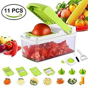 GreensKon Gemüsehobel, Edelstahl 13 in 1 Gemüseschneider Profi Gemüse-Schneider Abnehmbar Gemüsereibe Essen Slicer Zwiebelschneider Multischneider Ideal zum Hobeln von Obst und Gemüse