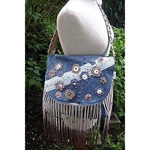 Hippie-Jeans-Tasche mit verziert Perlen HANDMADE Ilos-Unika (50 % upcycling)