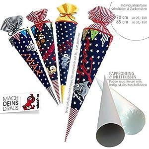 Schultüte, Zuckertüte in 70 cm oder 85 cm, dunkelblau große Sterne inklusive Papprohling mit vielen Personalisierungsmöglicheiten, als Kuschelkissen weiter nutzbar