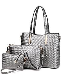 199662690726 Miss Lulu Women Fashion Handbag Shoulder Bag Purse Faux Leather Tote 3  Pieces