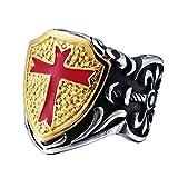 BOBIJOO Jewelry - Sello Medieval Anillo Templario Acero Blasón Cruzar Rojo Hombre Dorado Oro Fino - Ver descripción