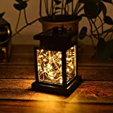 RISHIL WORLD Solar Hanging 30 LED Warm White Copper Wire String Light Lantern Waterproof Outdoor Garden Decor