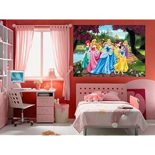 Disney Princess AG Design Forest Photo Mural Wallpaper for Children's Room, Multi-Colour, 160 x 115 cm