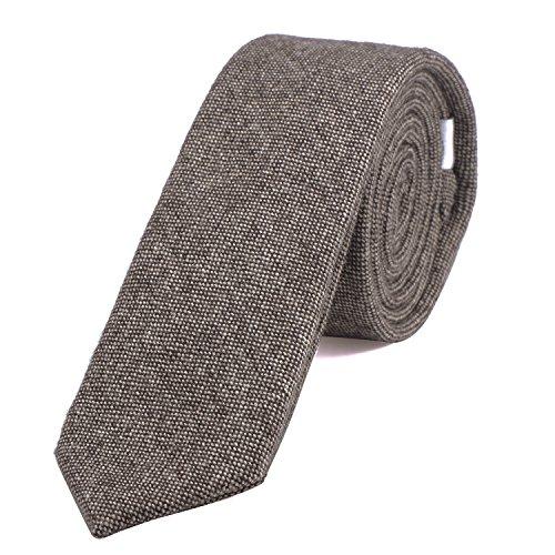 DonDon Herren Krawatte 6 cm Baumwolle hellbraun gepunktet