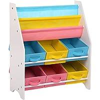 Preisvergleich für SONGMICS Kinderregal kleines Bücherregal Spielzeugregal weißes Aufbewahrungsregal mit bunten Aufbewahrungsboxen Kindermöbel 67 x 74 x 26,5 cm (B x H x T) GKR36WT