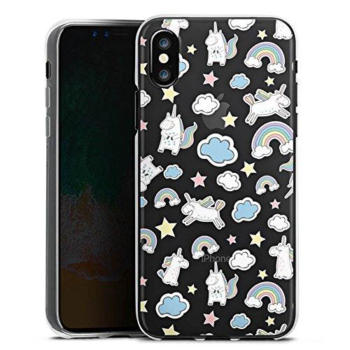 Apple iPhone X Silikon Hülle Case Schutzhülle Einhorn Muster ohne Hintergrund Silikon Case transparent