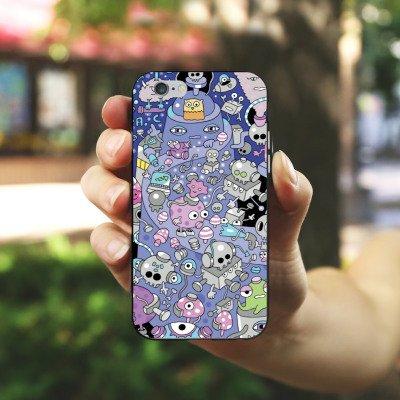 Apple iPhone X Silikon Hülle Case Schutzhülle Comicstyle Comic Roboter Silikon Case schwarz / weiß