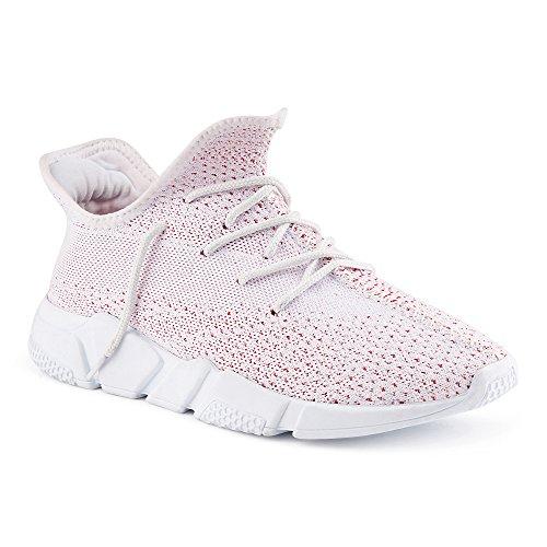 FiveSix Herren Damen Sneaker Sportschuhe Laufschuhe Textilschuhe Freizeitschuhe Strick Schnürschuhe Low-Top Unisex Schuhe Weiss/Rot EU 43