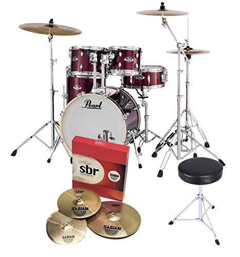 pearl-export-exx725s-la-rock-fusion-drum-kit-wine-red-sabian-cymbals-with-stool