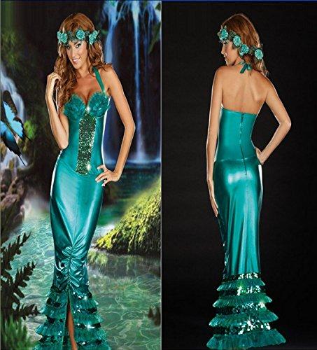 DLucc Halloween grünen Meerjungfrauenkleid Abendessen an Heiligabend Green Forest goddess Bekleidungsgeschäft Videoshow (Halloween-kostüme Green Ninja)