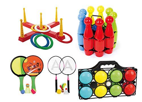 ega Outdoor Spiele Set für Draußen Kinderparty Wurfspiel Boccia Kegeln UVM ()