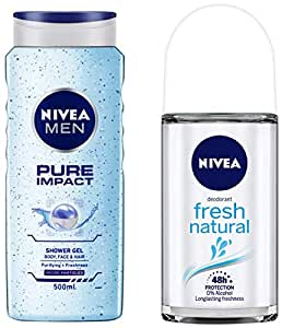 NIVEA MEN Hair, Face & Body Wash, Pure Impact Shower Gel, 500ml & Deodorant Roll-on, Fresh Natural, 50ml Combo