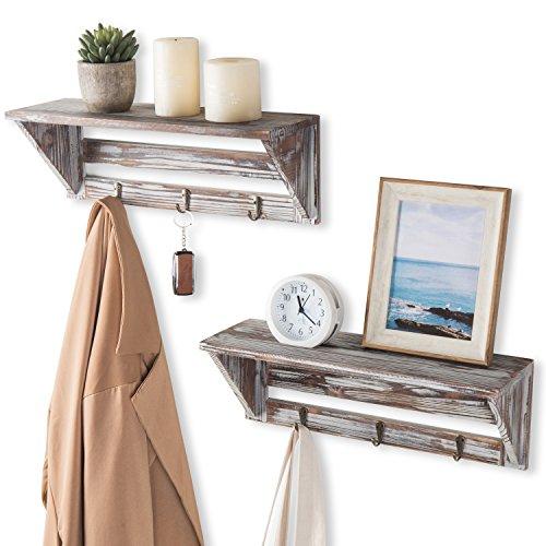 2 Regal Wand (Farmhouse Style Torched Holz Wand montiert Schwimmende Regal Display Rack, braun, 2Stück)