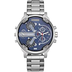 cagarny 6820 Fashionable Business Style Large Dial Dual Time Zone quar0tz Movement Wrist Uhr mit Stainless Steel Band & Calendar Function für Herren (Silver Band Blue Window)