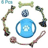 Jhua Juguete de Cuerda para Perro, 6 Piezas, Juguetes de Masticar para Mascotas, no tóxicos, Limpieza de Dientes, algodón Trenzado, Juguete para Perros pequeños, medianos y Gatos
