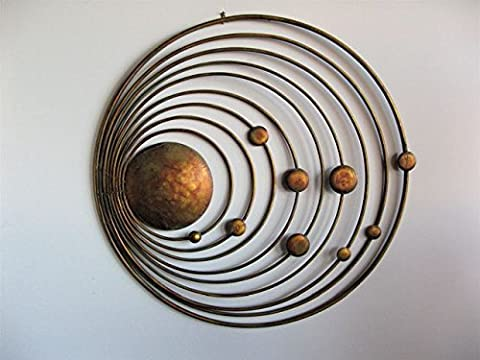 Solar system of sun and 9 planets Handmade Metal Wall Art Sculpture Wall Decor and Hanging ( 29 inch X 29 inch X 1 inch