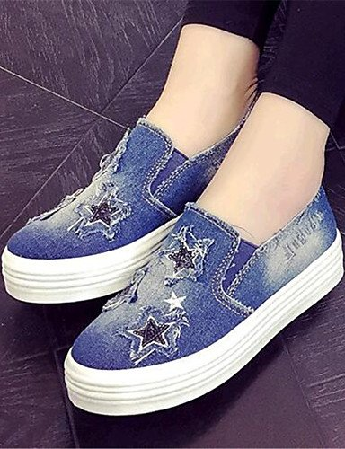 Uk5 5 Jeans denim us7 Eu38 komfort Sportlich Dark halbschuhe Blue Damenschuhe Lssig Zq Cn38 5 Absatz Gyht blau outddor flacher qZxfFTB