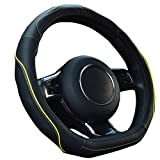 Maiku D Style Genuine Black Leather Handle Grip Steering Wheel Cover Wraps For Golf GTI VW Buick Audi Benz
