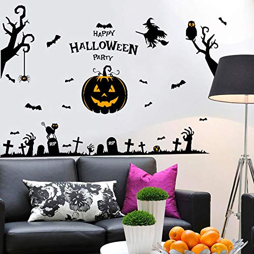 Halloween-Party-Wandaufkleber für Kinderzimmer Wohnzimmer Schlafzimmer Wand Aufkleber Wohnkultur Eule Katze Hexe Tapete ()