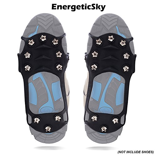 EnergeticSky 10-STUD Ice Cleats Traction Anti Slip Over Shoes/Boot,Overshoe Snow Ice Grips Crampons for Hiking,Silica Gel Cover (L, Black)