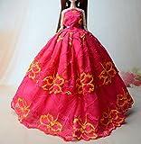 Mode-magnifique-robe-de-soire--la-main-pour-la-poupe-Barbie-robes-vtements-robe-de-poupe-rose6