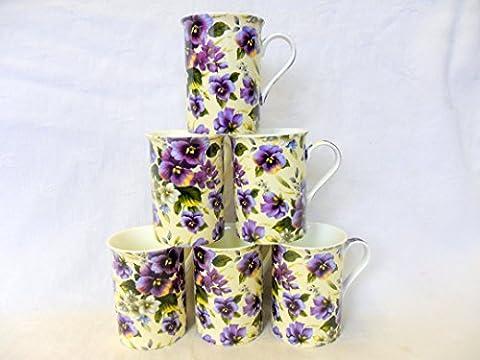 Set of 6 China Mugs in purple pansy design