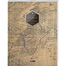 """TULPE Liniertes Notizbuch A4 /""""C014 Relax/"""" 140+ Seiten, Vintage Softcover, Doppelrand, Seitenzahlen, Register - Dickes Notizheft, Deutschheft, Schreibheft, Schulheft, Tagebuch, Lineatur 27"""