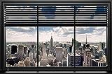 Poster Blick aus dem Fenster auf Manhattan/New York -