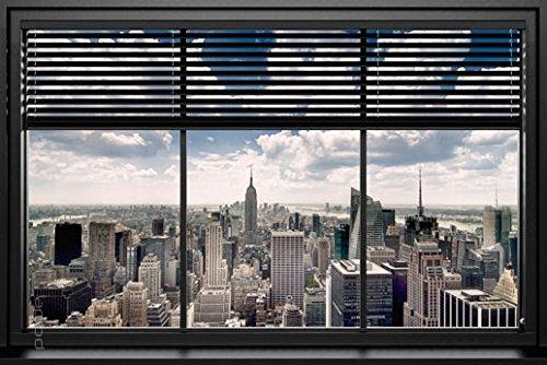 (Poster Blick aus dem Fenster auf Manhattan/New York - Größe 61 x 91,5 cm - Maxiposter)
