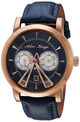Adee Kaye Men's Automatic Stainless Steel and Leather Dress Watch, Color:Blue (Model: AK8871-RGBU)