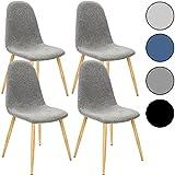 Deuba 4X Esszimmerstühle Design Stuhl Küchenstuhl 50cm Sitzhöhe ergonomisch Geformte Sitzschale 120kg Belastbarkeit Stuhlbeine mit Naturholzoptik Hellgrau