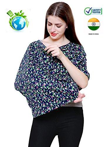 Feather Hug 360 Nursing Cover for Breastfeeding mother, women, Mom, Multi Use, Feeding Cloak,Poncho, scarf, ups, Wrap, Breathable, Canopy, Babysitting, Maternity, Kurti, Shawl, Apron, Poplin (Blue Floral)