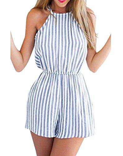 Femme Combinaison Dos Nu Amincissante Rayé Combishort Casuel d'été Pour Plage/Vacances (S, Rayure bleu et blanc)