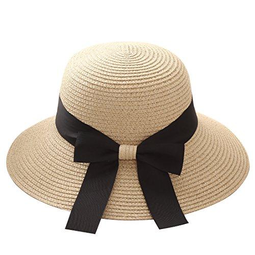 Flying Rabbit Damen Sonnenhüte Faltbarer Strohhut mit Sonnenschutz Breite Krempe (Style-1-Beige) -