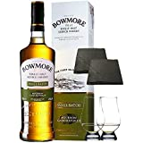 Bowmore Small Batch Single Malt Whisky 0,7 Liter + 2 Glencairn Gläser + 2 Schieferuntersetzer quadratisch ca. 9,5 cm