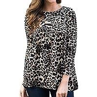 LILICATⓁ Moda Estampado de Leopardo Suelta Cuello Redondo Manga Larga Jersey Mujer Casual Manga Larga Estampado de Leopardo Camisa con Capucha Suéter Blusa Tops