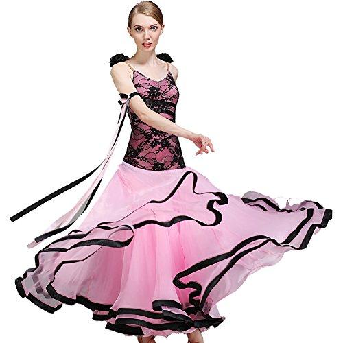 Q-JIU Für Den Ballsaal Damen Leistung Spitze Milchfieber Georgette Spitze Blume Ärmellos Normal Kleid,Pink,XXL -