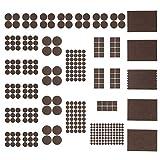 Maila Filzgleiter selbstklebend - Möbelgleiter aus Filz zum Schutz für alle Möbel wie Stühle, Sofa und Sessel inkl. Gummipuffer transparent - Bodenschutz braun (362 Filzteile+Bonus! - 50 Gummipuffer)