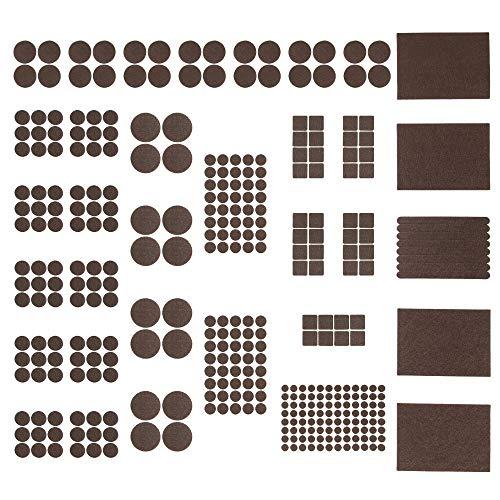 Preisvergleich Produktbild Maila Filzgleiter selbstklebend - Möbelgleiter aus Filz zum Schutz für alle Möbel wie Stühle,  Sofa und Sessel inkl. Gummipuffer transparent - Bodenschutz braun (362 Filzteile+Bonus! - 50 Gummipuffer)