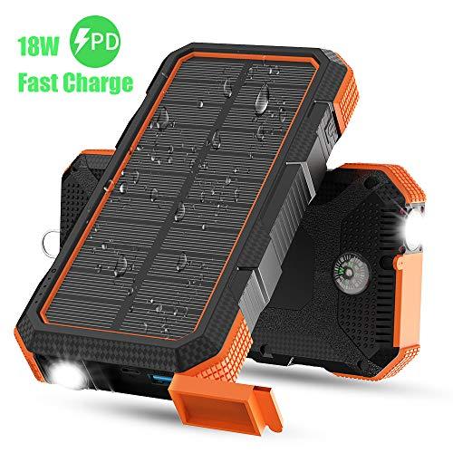 X-DRAGON Solar Ladegerät, 24000mAh 18W Solar Power Bank Externer Akku mit Dual Input (USB C & Micro), Taschenlampe, Kompass für iPhone, iPad, Samsung, Handys, Outdoor, Camping