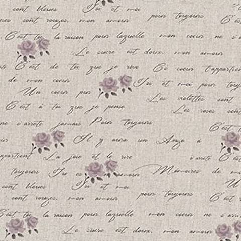 Tissu lin et coton Shabby Chic au mètre - Roses Ecritures/ Parme Réf 118 - Avenue des Tissus
