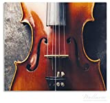 Wallario Herdabdeckplatte/Spritzschutz aus Glas, 2-teilig, 60x52cm, für Ceran- und Induktionsherde, Nahaufnahme einer alten Violine
