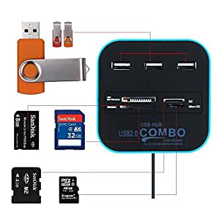 Cables Kart All In One Combo Card Reader & 3 Port USB 2.0 Hub - Blue
