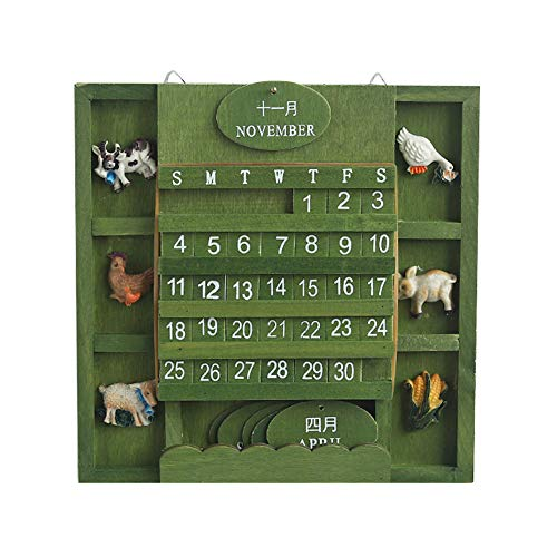 Jushi Creative Holz Wandkalender 2019 Adventskalender Ewiger Kalender Home Decor Manueller Umschalter Kalender